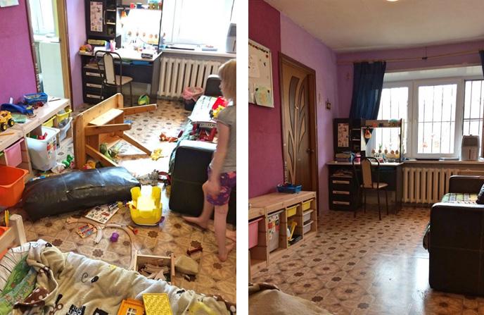 Генеральная уборка в детской комнате загородного дома.