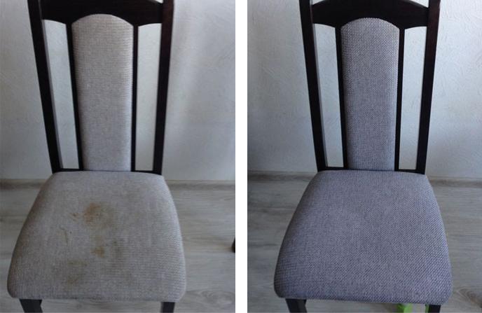 Химчистка стула от пищевых загрязнений.