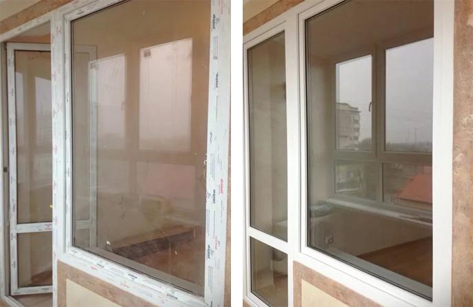 Мытье балконного блока в спальной комнате квартиры.