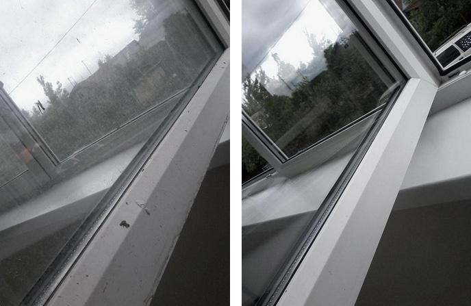 Мытье окна, рамы, отлива и подоконника.