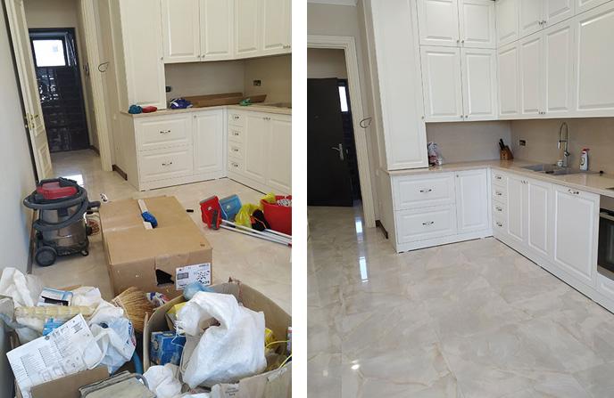 Уборка после ремонта в кухне.