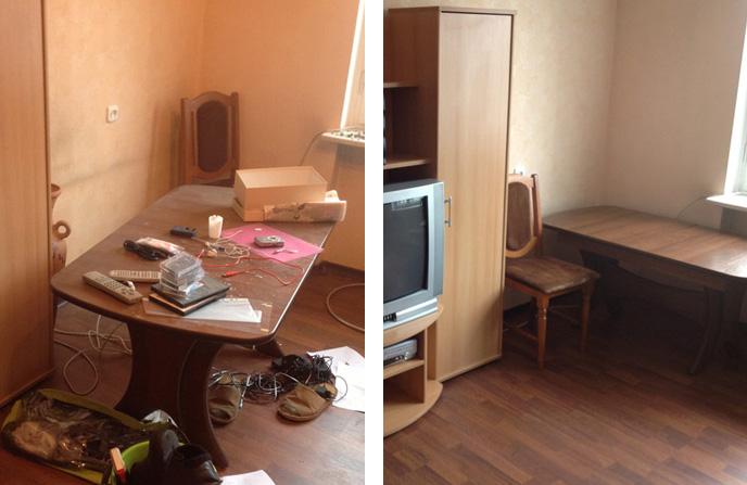Уборка в комнате после косметического ремонта.