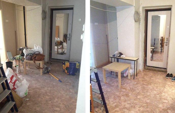 Уборка прихожей дома после капитального ремонт.