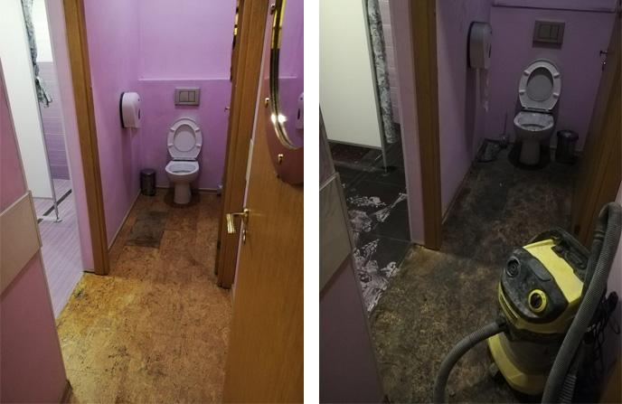 Уборка квартиры после затопления в санузле.