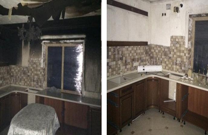 Уборка кухни в загородном доме после пожара.