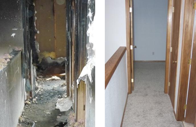 Уборка в коридоре квартиры после пожара.