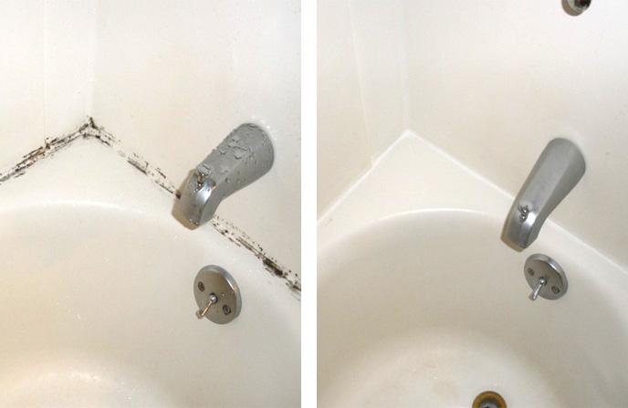 Удаление грибка с силиконовой изоляции ванны.